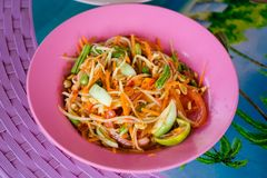 Papaya Som Tam salad Stock Photography