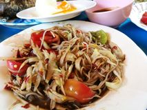 Papaya Somtum yum στην Ταϊλάνδη Στοκ Φωτογραφίες