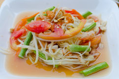 Papaya spicy salad Stock Photos