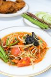 Papaya spicy salad. Named Som Tum, Thai food with fried chicken Stock Photography