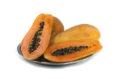 Papaya Thai Fruits. On White background Stock Photos