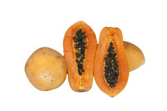Papaya Thai Fruits. On White background Royalty Free Stock Photo
