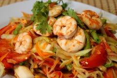 Papaya and tomato salad with shrimp Stock Photo