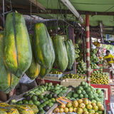 Papaya at tropical market in Yogjakarta, Indonesia. Stock Images