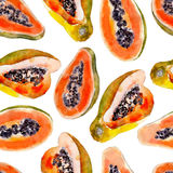 Papaya watercolor seamless pattern. Bright tropical fruit isolated. Stock Image