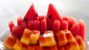 Papaya and watermelon slices. Royalty Free Stock Image