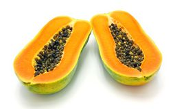 Papaya on white background. Papaya with seeds on white background Stock Photo