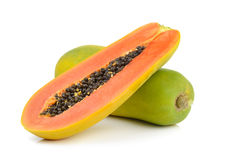 Papaya on white background Stock Photos