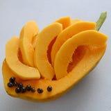 Papaya on white background, tropical fruit Stock Photography