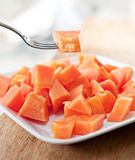Papaya on white dish Royalty Free Stock Photos