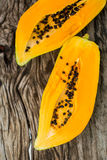Papaya on the wooden board . Stock Image