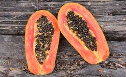 Papaya on wooden Royalty Free Stock Photo