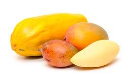 Papaya y mango frescos Imagen de archivo libre de regalías