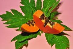 Papayafrucht auf rosa Hintergrund stockfotografie