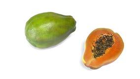 Papayafrucht auf weißem Hintergrund Stockfoto