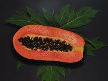 Papayafrukt som isoleras p? svart bakgrund arkivbilder
