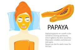 Papayamaskspasalon stock illustrationer