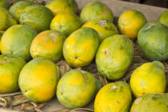 Papayas at fruit stand Stock Photography
