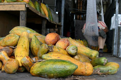 Papayas in Market. Papayas are seen in the local market in Villa Nueva, Guatemala. Photo/Carlos Duarte Stock Photo