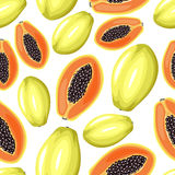 Papayas seamless pattern Stock Photography