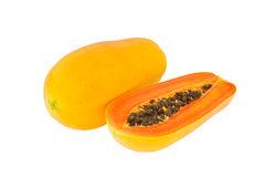 Papayas on white background Stock Image