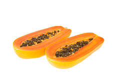 Papayas on white background Royalty Free Stock Photos