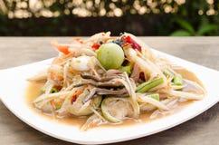 Papayasalat mit der Krabbe in Essig eingelegt Lizenzfreies Stockbild