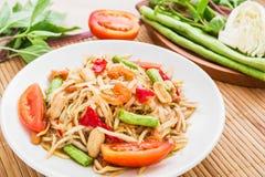 Papayasalat (Som Tum), thailändisches Lebensmittel Stockfotos