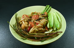 Papayasalat verzieren Platte mit Gemüse auf schwarzem Hintergrund Lizenzfreies Stockfoto