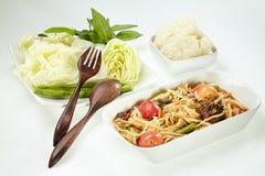 Papayasallad med den rimmade krabban, Som Tam Thai Arkivfoton