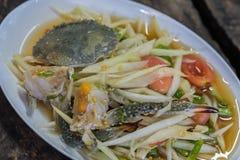 Papayasallad med krabban Royaltyfria Bilder