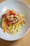 Papaye et crevette frites par Stir Photographie stock libre de droits
