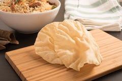 Papdoms (tradycyjni smażący Południowi Indiańscy krakers) obraz stock