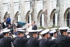 Pape Benedict XVI et Président Cavaco Silva Images stock