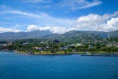 Papeete stadssikt från havet, Tahiti Royaltyfri Fotografi