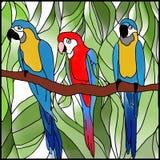 Papegaai, bloem en blad Royalty-vrije Stock Afbeeldingen