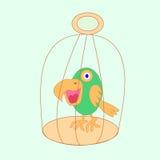Papegaai in een kooi Royalty-vrije Stock Foto