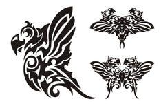 Papegaai en vlindertatoegeringsstijl Royalty-vrije Stock Fotografie