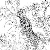 Papegaai in fantasiebloemen Royalty-vrije Stock Afbeeldingen