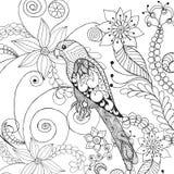 Papegaai in fantasiebloemen Royalty-vrije Stock Afbeelding