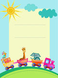 Papegaai, giraf, olifants aan de gang kader Stock Fotografie