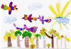 Papegaaien die over palmen vliegen. kind tekening Royalty-vrije Stock Afbeeldingen