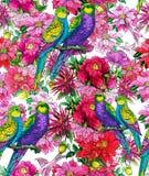 Papegoja och härliga blommor arkivfoton