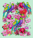 Papegoja och härliga blommor royaltyfri illustrationer