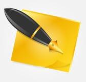Papel amarelo com ilustração do vetor do ícone da pena da tinta Fotografia de Stock Royalty Free