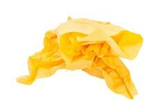 Papel amarillo arrugado Foto de archivo libre de regalías