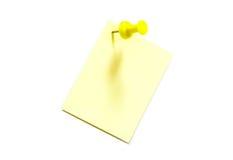Papel amarillo para las notas Imágenes de archivo libres de regalías