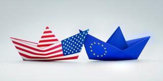 Papel americano y barcos de papel europeos stock de ilustración