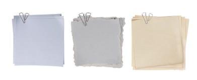 Papel anexado com grampo de papel Foto de Stock