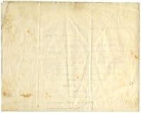 Papel antiguo, 1916 Foto de archivo libre de regalías